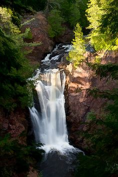 Visit Copper Falls State Park, about 4 hours north of Madison, this is one of the Wisconsin's most scenic parks with ancient lava flows, deep gorges and spectacular waterfalls. Be sure to check out the view of the 80 foot-deep gorge at the scenic overlook Beautiful Waterfalls, Beautiful Landscapes, Places To Travel, Places To See, Seen, Amazing Nature, Vacation Spots, Travel Usa, Wonders Of The World