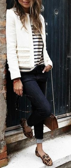 Cream tweed, stripes & leo