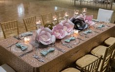 sequin tablecloth + giant handmade paper flowers + tall candlelight // The Not Wedding : Cape Cod