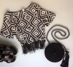 Summer outfit / handmade round crochet bag / black