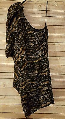 New Miss Me MM Couture One Shoulder Party Dress Size Medium Black Brown RN112568