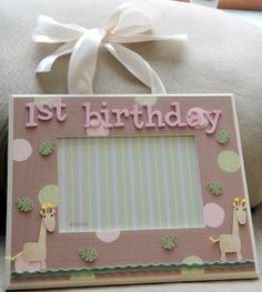5x7 hanging 1st birthday giraffe frame by lbelleframes on Etsy, $38.50