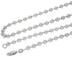 Mens Real Solid 14K White Gold Ball Chain Necklace 30 Inches 5MM.