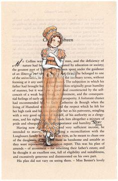 Jane Austen Pride and Prejudice - original Regency lady painting book page Elizabeth Bennet, Castle On The Hill, Newspaper Art, Jane Austen Books, Becoming Jane, Regency Era, Painted Books, Pride And Prejudice, Period Dramas