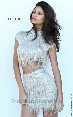 Sherri Hill 50564 | Silver Sequin Fringe Two Piece Dress | Bridal Elegance