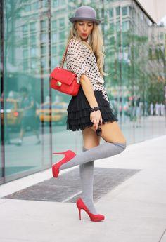 Soft knee high socks & mini skirt. Spring 2014 fashion. Get the look with Sigvaris: http://www.brightlifego.com/sigvaris-women-s-sea-island-cotton-sock-15-20-mmhg.html#.UzwuyoXiglI