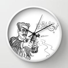 Groucho 2 Wall Clock by Caterina Zamai - $30.00