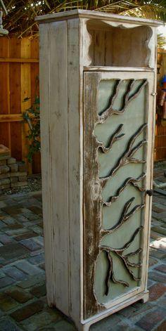 Large oak, carved tree cabinet