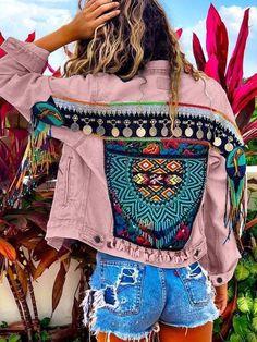 Boho Denim Coat | Clothing | Long Sleeve Boho Coat | noracora Denim Boho, Blue Denim, Boho Hippie, Happy Hippie, Boho Theme, Looks Style, Boho Outfits, Types Of Sleeves, Boho Fashion