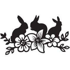 Silhouette Design Store: easter bunny flowers
