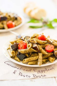 Caramelized Eggplant & Pesto Pasta (v) | mycaliforniaroots.com | #Basil, #Dinner, #Easy, #Eggplant, #Pesto, #Recipe, #Summer, #Vegan
