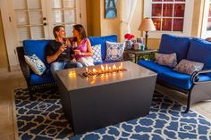 The Malibu 26''x46'' rectangle fire table by Firetainment, for cooking, dining and relaxing. #firetainment