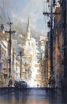 After the Rain - Filbert Street; San Francisco. Thomas W Schaller. Watercolor - 76x56cm - 07 Jan. 2018