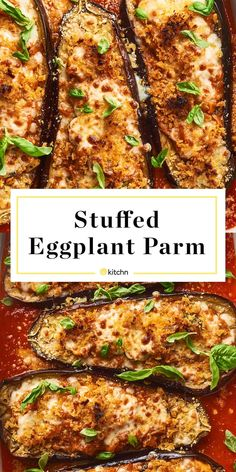 This stuffed eggplant parm is vegetarian comfort food at its finest. It's everything you love about classic eggplant Parmesan, stuffed into. Easy Appetizer Recipes, Healthy Recipes, Veggie Recipes, Vegetarian Recipes, Cooking Recipes, Healthy Eggplant Recipes, Vegan Eggplant Parmesan, Italian Eggplant Recipes, Vegetarian Comfort Food
