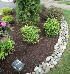 South Jersey Mulch | Kind Kuts  Really like this natural rock border-consider using river rock.