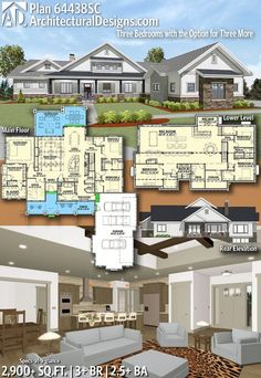 Architectural Designs House Plan 64438SC | 3+ beds | 2.5+baths | 2,900+ Sq.Ft. | Ready when you are. Where do YOU want to build? #64438SC #adhouseplans #architecturaldesigns #houseplan #architecture #newhome #newconstruction #newhouse #homedesign #dreamhome #homeplan #architecture #architect #housegoals #house #home #design #craftsman #farmhouse #northwest