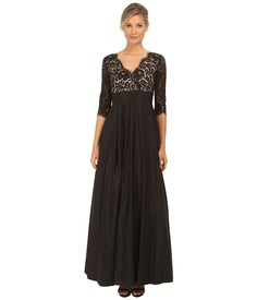 Eliza J 3/4 Sleeve Surplice Lace Gown with Faile Skirt