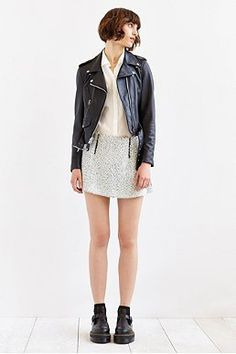 COPE Boucle Zip-Front Mini Skirt