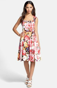 Maggy London Floral Print Cotton Sateen Fit & Flare Dress available at #Nordstrom