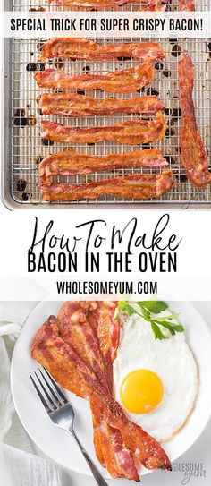 How To Cook Bacon in the Oven (The Best Way!) - The BEST method for how to cook bacon in the oven! It's super quick and EASY. Plus this trick for oven baked bacon makes it SUPER CRISPY! Bacon Recipes, Paleo Recipes, Low Carb Recipes, Real Food Recipes, Cooking Recipes, Cooking Videos, Cooking Tips, Crowd Recipes, Real Foods
