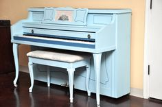 """""""Baby Blue"""" What a looker! We did an image transfer in the center of the music rack, got new bench fabric, and new knobs. #upcycle #refinish #DIY #piano #blue"""