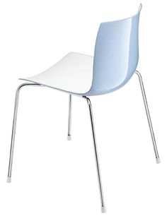 4 dining chairs - Catifa chairs - White with light blue back