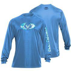 Water Logo X-Large Long Sleeve Performance Tee Carolina in Blue