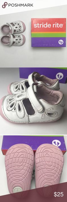 "3.5W White ""Lola"" Stride Rite Shoes White leather toddler girls shoes with Velcro strap closure and decorative cutouts on top. Pink rubber soles. I've highlighted the areas of wear in the last photo. We only had these two weeks before our daughter had a huge growth spurt and had to go up to the next size. These shoes are sized 3.5 wide. Please carefully review each photo before purchase as they are the best descriptors of the item. My price is firm. No trades. First come, first served. Thank…"