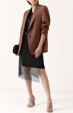 Полупрозрачная юбка-миди с фактурной отделкой Dries Van Noten черная | Фото №2