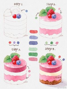 Cute Kawaii Animals, Cute Animal Drawings Kawaii, Cute Food Drawings, Cool Art Drawings, Watercolor Food, Watercolor Drawing, Cute Food Art, Cute Art, Desserts Drawing