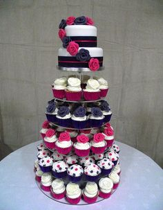 pink and purple cupcake tower | Flickr - Photo Sharing!