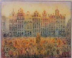 Gross Arnold - Brüszeli vasárnap / Brussels Sunday Vintage World Maps, Graphic Design, Brussels, Architecture, Illustration, Artist, Sunday, Houses, Painting