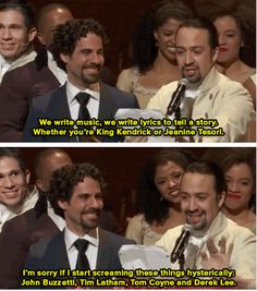 Click to see the whole set of images of Lin-Manuel's Grammy acceptance speech for Hamilton