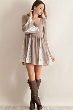 Lace Contrast Baby Doll Dress - Mocha