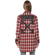 Off White Women Check Wool & Cotton Flannel Long Shirt ($485) ❤ liked on Polyvore featuring tops, button front shirt, checkered flannel shirts, long collar shirt, collared shirt and extra long shirts
