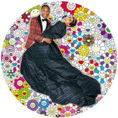 Takashi Murakami Portrait of Pharrell and Helen - Dance, 2014 Acrylic and platinum leaf on canvas mounted on board (Photo by Terry Richardson) φ1500 mm ©2014 Takashi Murakami/Kaikai Kiki Co., Ltd. All Rights