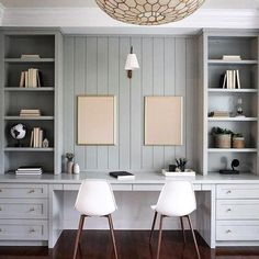 Family desk area with custom millwork in Farrow & Ball Light Blue Cool Office Space, Office Nook, Guest Room Office, Office Walls, Office Wall Cabinets, Office Playroom, Office Spaces, Home Office Design, Home Office Decor