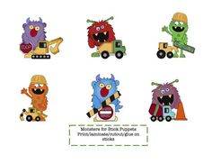 Little Monster Puppet Sticks product from Preschool-Printable on TeachersNotebook.com
