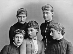 Alix and Irene with their cousins, Charlotte of Prussia, and Princesses Marie Louise and Helena Victoria of Schleswig-Holstein