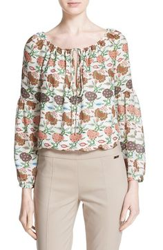 TORY BURCH 'Julia' Floral Print Silk Peasant Blouse. #toryburch #cloth #