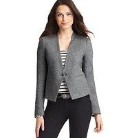 """Petite Cotton Flannel Collarless Blazer - Tailored in exquisitely cozy cotton flannel (for an hint of autumnal chic), this sleek collarless design is our latest cool weather obsession. Long sleeves. Single button closure. Welt pockets. Cutaway hem. Hidden button cuffs. Lined. 20 1/2"""" long."""