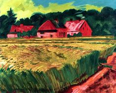 Farmhouses with Wheat Field in Leba Hermann Max Pechstein - 1922