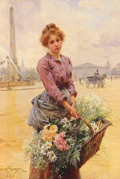La Marchande Des Fleurs, Place De La Concorde (1898) by Louis Marie de Schryver.
