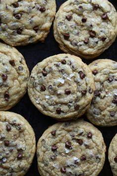 My most favorite chocolate chip cookie recipe EVER! This recipe is classic! I love using mini chocolate chips and coarse sea salt to make them salty/sweet perfection! Cookie Desserts, Just Desserts, Delicious Desserts, Dessert Recipes, Good Cookie Recipes, Salty Chocolate Chip Cookies, Mini Chocolate Chips, Salted Chocolate, Biscuits