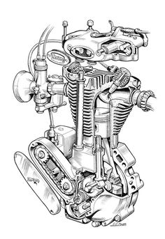 E D F Feb C A A E C Engine Tattoo Tattos on Norton Engine Exploded View