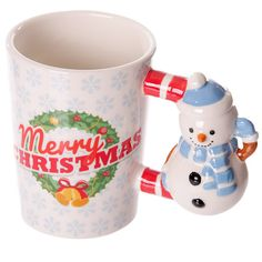 Christmas Ceramic Mug with Snowman Shaped Handle by getgiftideas