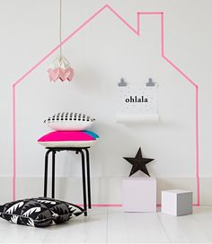 washi tape art, you are only limited by your imagination. You can create artwork from black washi tape and make crosses on the wall Tape Wall Art, Washi Tape Wall, Tape Art, Room Deco, Estilo Interior, Interior Ideas, Pastel Decor, Kids Room Art, Big Girl Rooms
