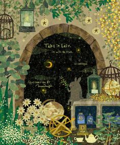 心休める優しい光と綺麗な夜空、植物達✨ #illust #illustration #art #animal #rabbit #plant #nightsky #絵 #イラスト #動物 #うさぎ #植物 #夜空