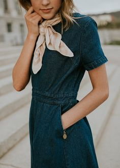 denim short sleeve dress | mascot | scarf | casual | day out | travel
