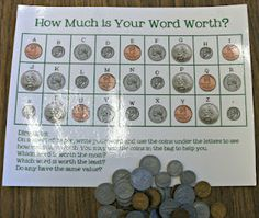 Grade Thoughts: Word Work: How much are your spelling words worth? Grade Thoughts: Word Work: How much are your spelling words worth? Teaching Money, Teaching Math, Teaching Ideas, Teaching Resources, Teaching Economics, Teaching Materials, Math Stations, Math Centers, Writing Centers